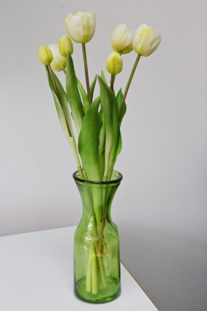 Wayfair Pantone Greenery inspiration artificial tulips in a green Wayfair vase