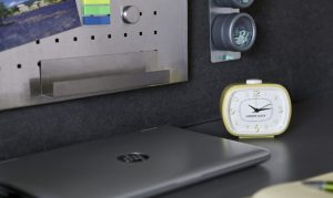 Wayfair Home Office Feature with my London Retro Alarm Clock in Yellow on my workspace.
