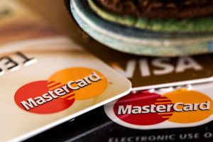 Credit cards near a wallet