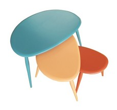 90th anniversary coloured ercol pebble table nest