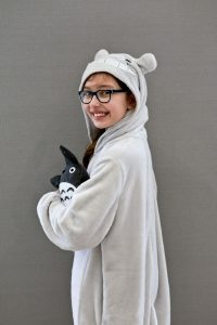 Emily in her Totoro Costume for World Book Day Side view