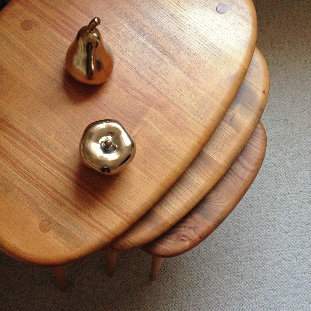 my mum's ercol pebble table nest from above.