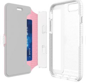 tech21 Evo Wallet Active Edition Case for iPhone 7 Pink with detachable cover.