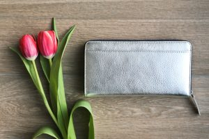 John Lewis Silver Zip-around Contrast Purse