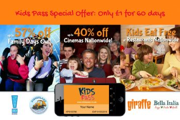 Kids Pass Special Offer: Only £1 for 60 days access to great deals for the whole family.