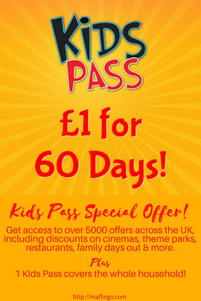 Special Offer- Kids Pass Membership only £1 for 60 days. The Kids Pass gives you access to 5000 offers across the UK including discounts on- cinemas, holidays, theme parks, restaurants, family days out. One pass covers an entire household.