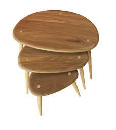 90th anniversary walnut ercol pebble table nest