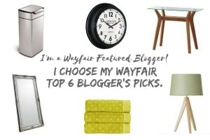 Wayfair Home Experts. I choose my top 6 Blogger's Picks from the Wayfair UK website. Clock, Bin, Console Table, Mirror, Towels, Tripod lamp.