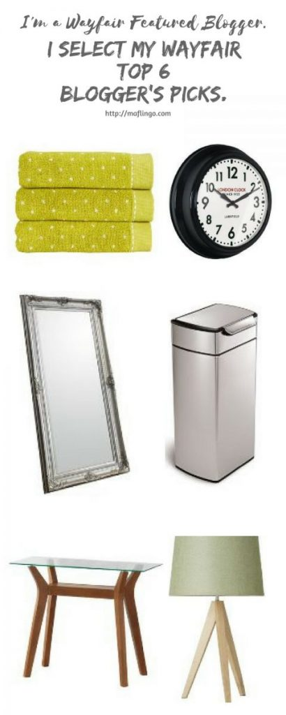 Wayfair Home Experts. I choose my top 6 Blogger's Picks from the Wayfair UK website. Clock, Bin, Console Table, Mirror, Towels, Tripod lamp. Pinterest.