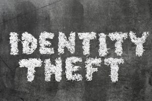 Identity Theft lettering made from shredded paper