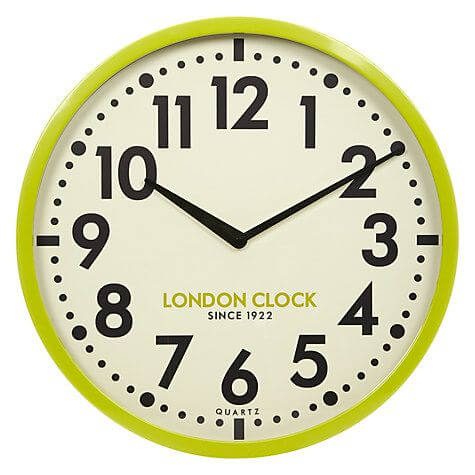 London Clock Company Retro Wall Clock, Lime