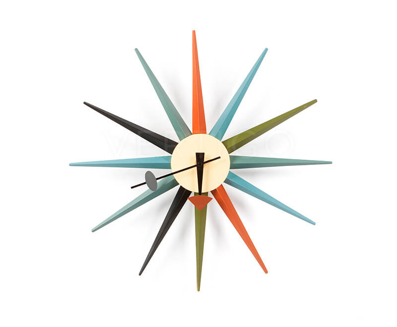 Multi Colour Star Burst Wall Clock inspired by George Nelson