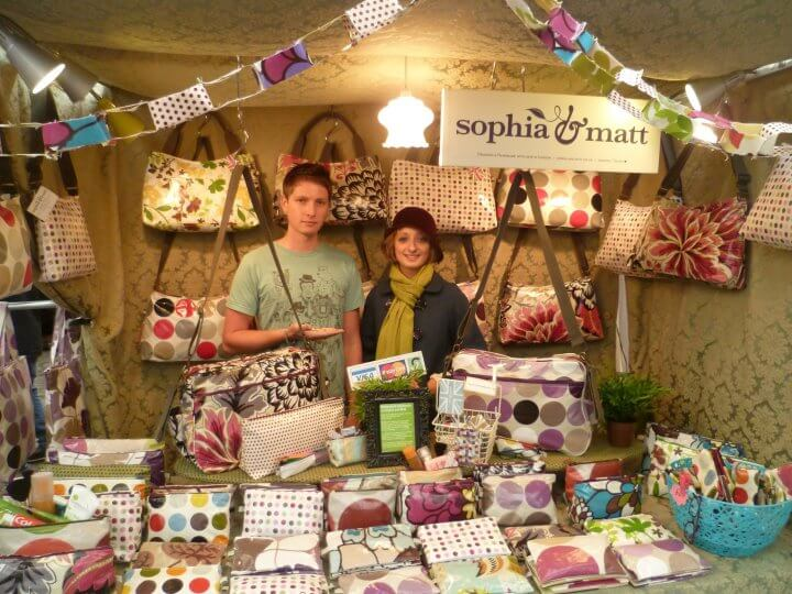 Sophia & Matt on their market store. Image: Sophia & Matt