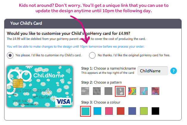 Personalise your goHenry card