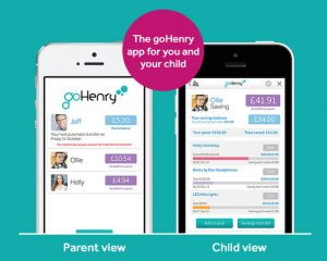 Screenshot of parent and child views of goHenry app