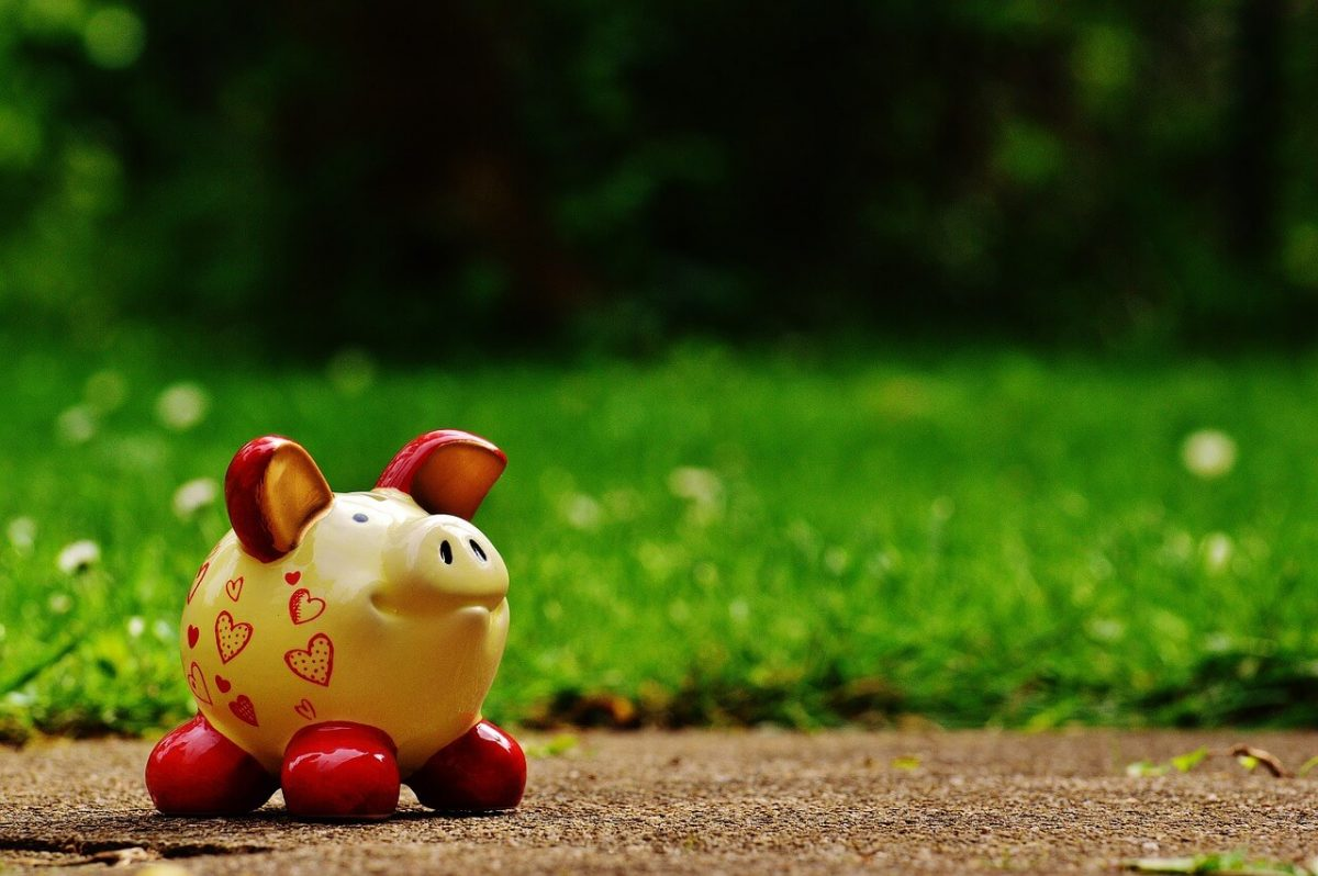 Yellow Piggy Bank with grass in background