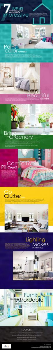 7 ways to make your home look more expensive and impressive on a budget. 7 simple and cost-effective tips including choice of paint colour, buying second hand furniture, buying full-length curtains, introduce plants, choosing effective lighting and reducing clutter.