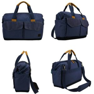 Case Logic LoDo Satchel in Navy Blue from all angles.