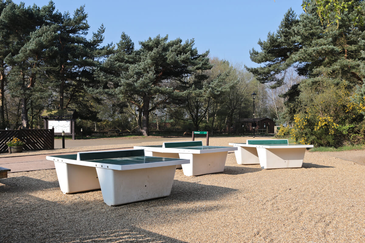 Outdoor Table Tennis Tables and Petanque at Village Square, Kelling Heath Holiday Park.