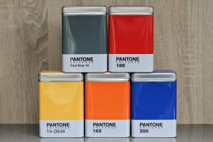 Front view of 5 stacked Pantone Universe Storage Containers tins