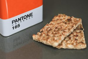 Close-up Pantone Universe storage tins are big enough to store Ryvita Crispbreads