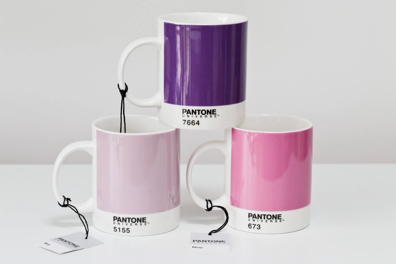 Pantone Mugs Set of 3 in purple and pink hues