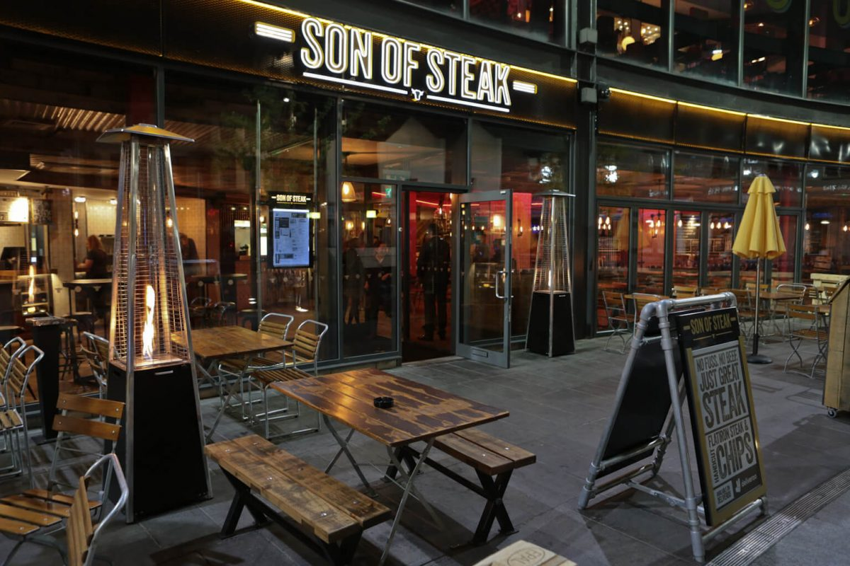 Son of Steak exterior shot of the Trinity Square restaurant in Nottingham