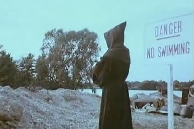 1970's Public Information Film showing grim reaper near dark and lonely water