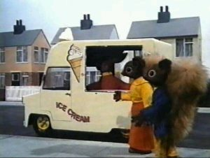 Tufty the Squirrel and friends near an ice cream van