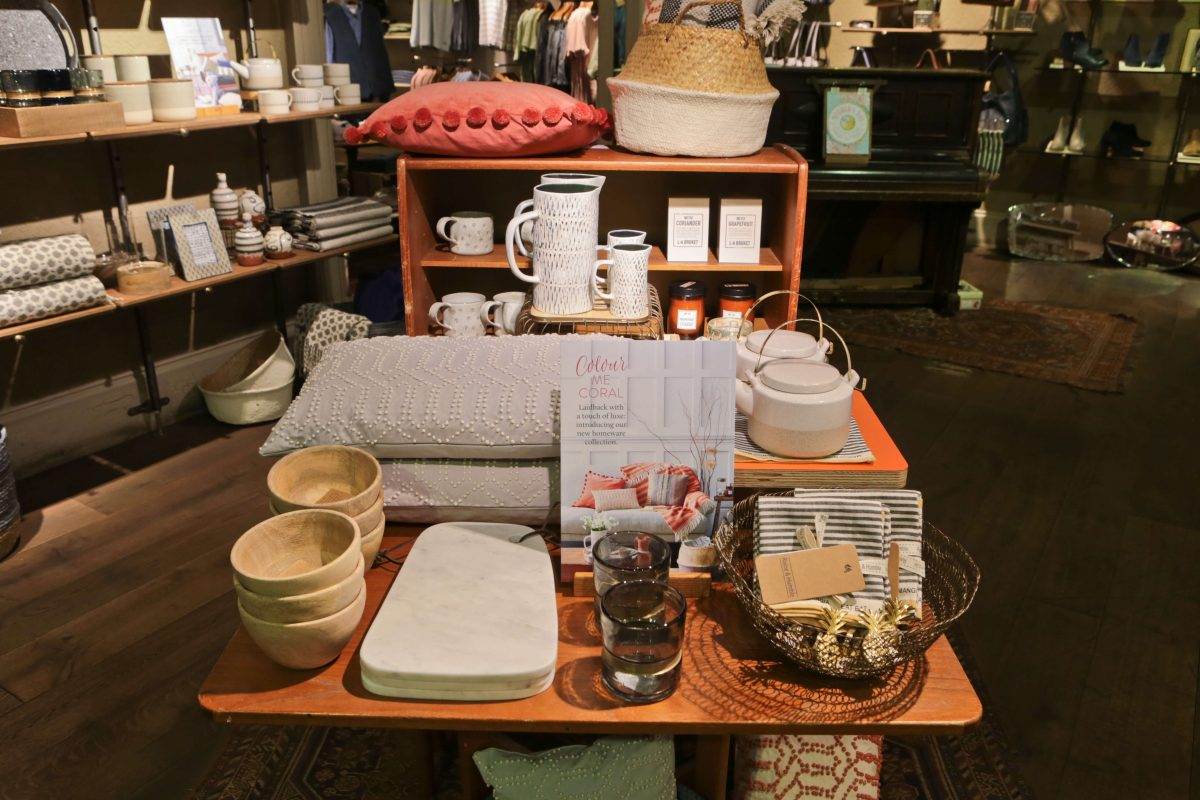 Table showing White Stuff Nottingham New homeware collection displays