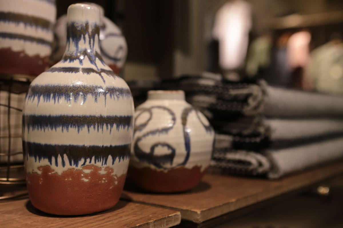 Close-up of hand-made ceramics White Stuff Nottingham New homeware collection displays