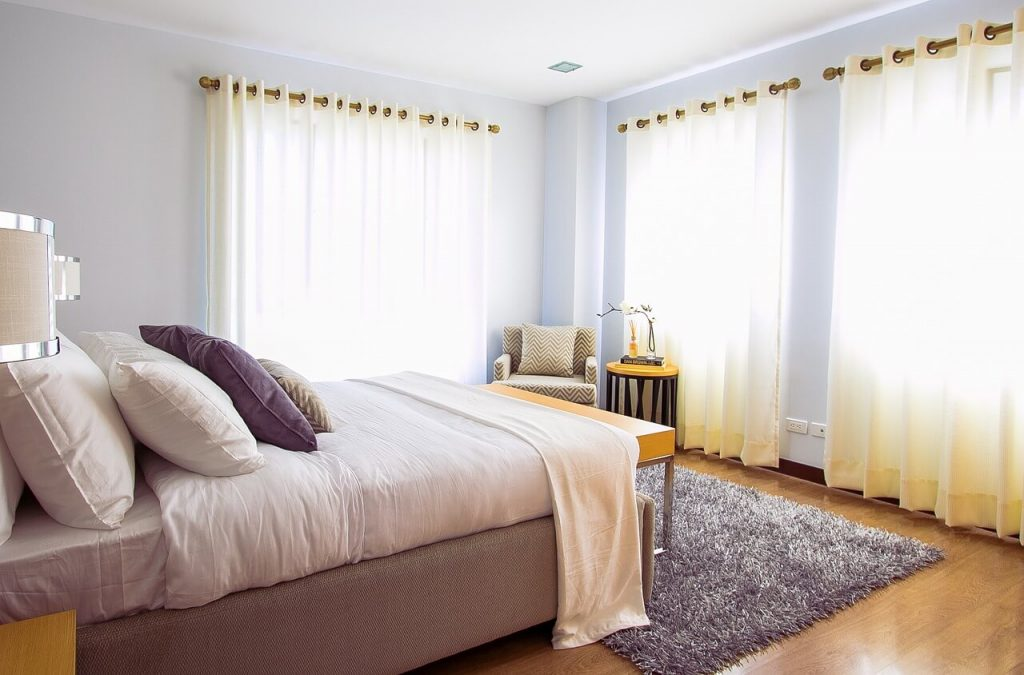 Voile curtains in a bedroom