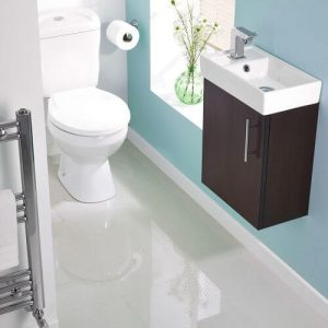 Wall hung short projection cloakroom basin / sink with vanity in small bathroom ensuite