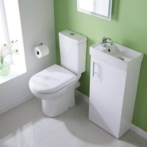 Floorstanding short projection cloakroom basin / sink with vanity in small bathroom ensuite