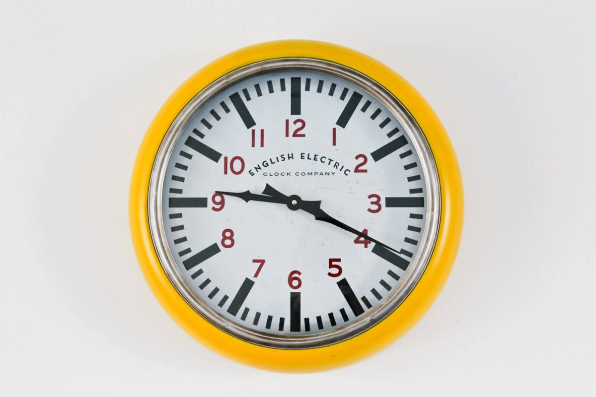 Big Yellow Large Wall Clock from the English Electric Clock Company