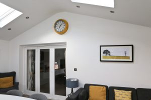 Our Large Wall Clock from the English Electric Clock Company on the wall of our extension above the folding internal doors.