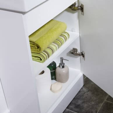 Inside vanity cupboard for short projection cloakroom basin / sink with vanity in small bathroom ensuite