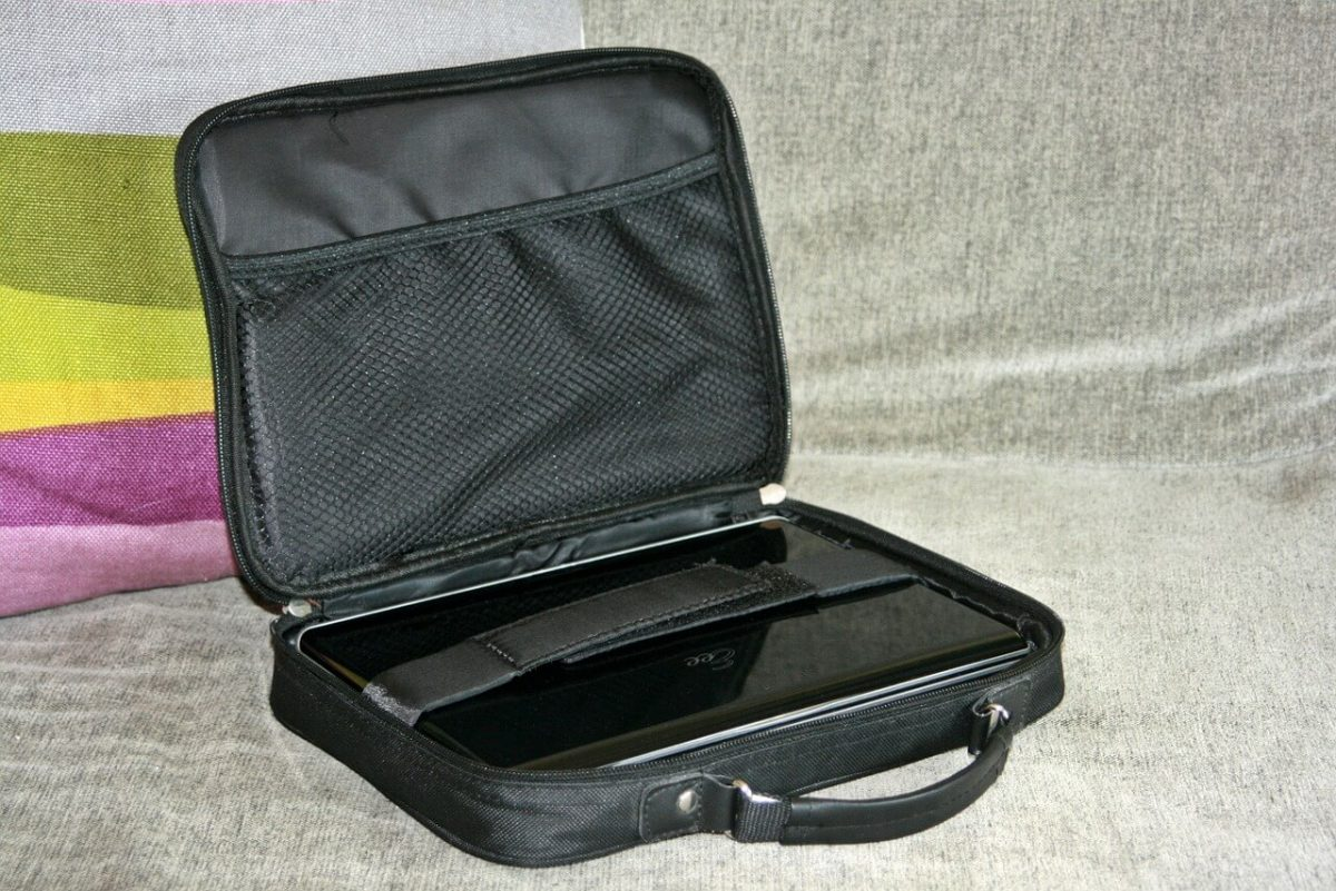 A boring black, nylon laptop bag