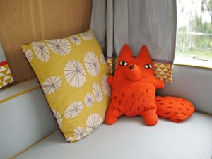 1969 Cheltenham Fawn Renovation Project After : fox toy made from a cardigan and bright cushion