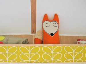 1969 Cheltenham Fawn Renovation Project After : Handmade fox toy on shelf decorated with Orla Keily Stem wallpaper