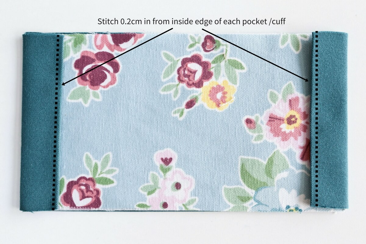 Snap purse sewing tutorial : Fold the lining over twice towards the patterned fabric and press with an iron