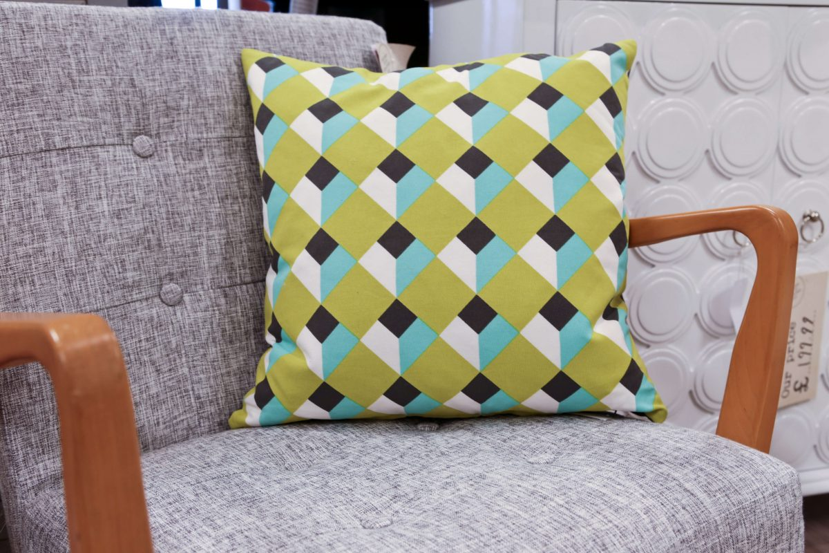 HomeSense Summer Trends Graphic : Bright Geometric Cushion in lime, blue and black