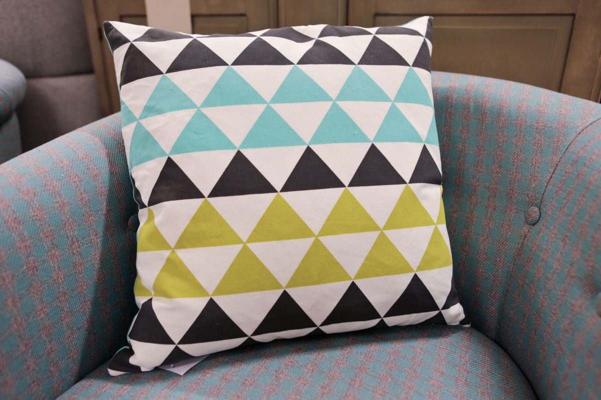HomeSense Summer Trends Graphic : Geometric triangle cushion