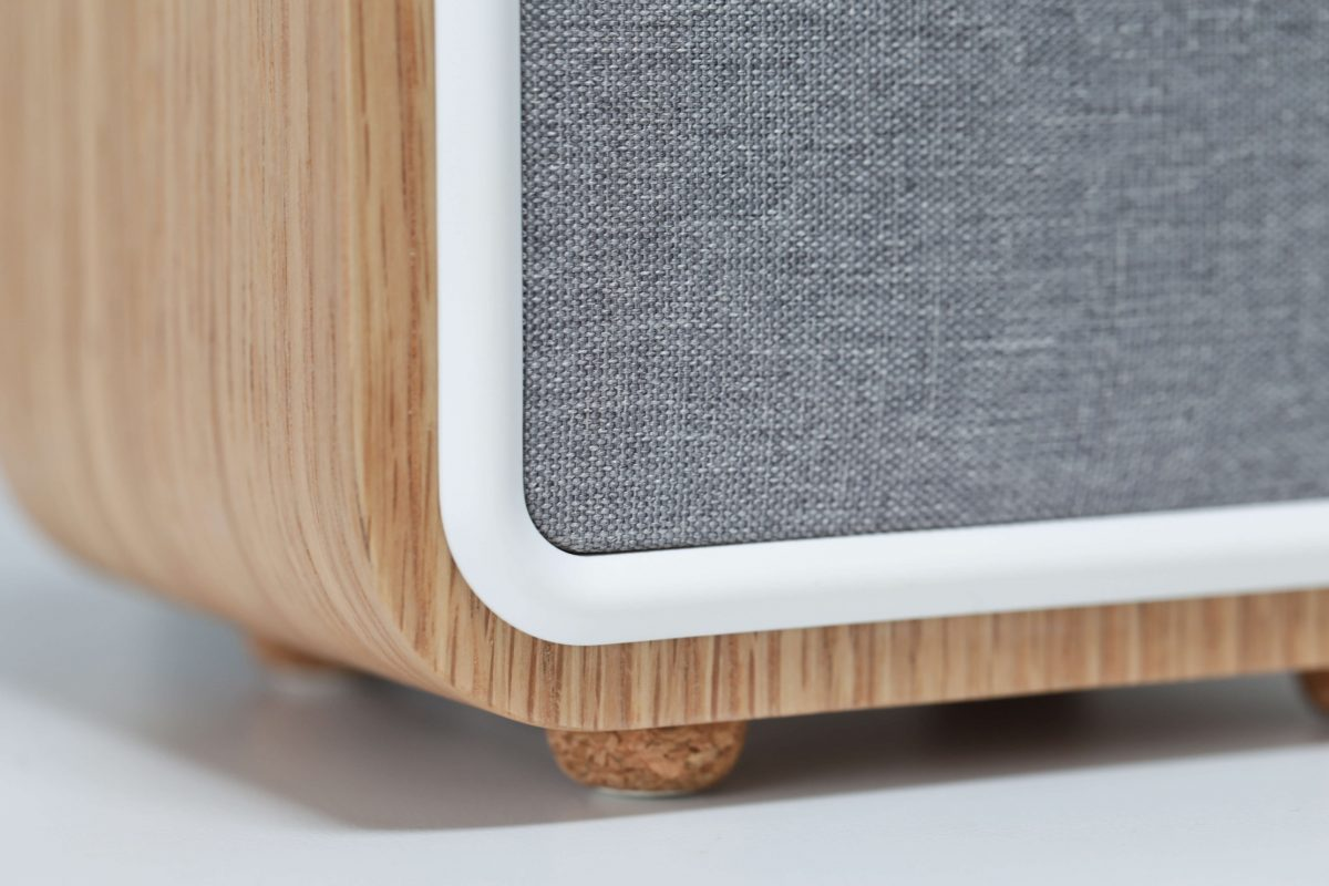 VQ Monty DAB Digital Radio close up of fabric grille