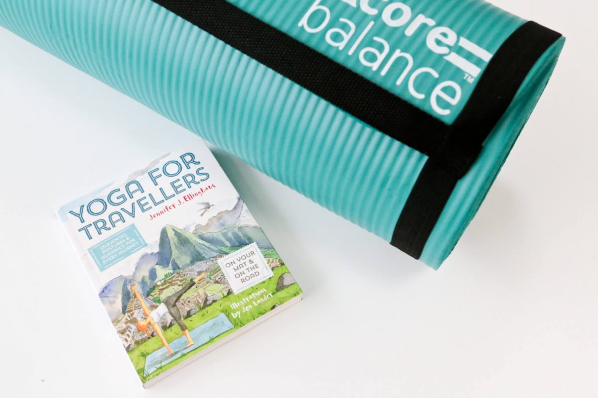 Yoga for Travellers book and Core Balance Yoga Mat