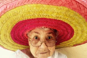 Banish winter depression and the post-holiday blues old lady in sombrero