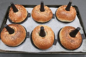 Perfect results! The golden brown, crispy sesame and poppy seed bagels on Lékué silicone bagel moulds