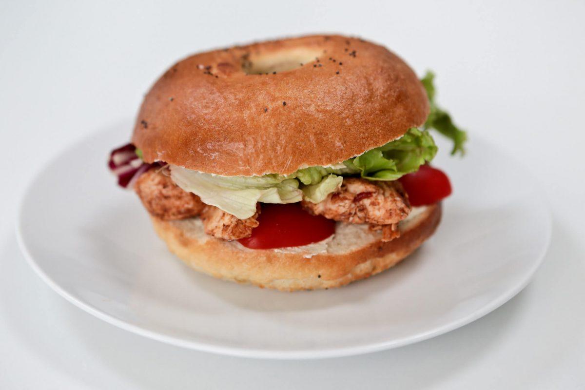 A filled bagel sandwich