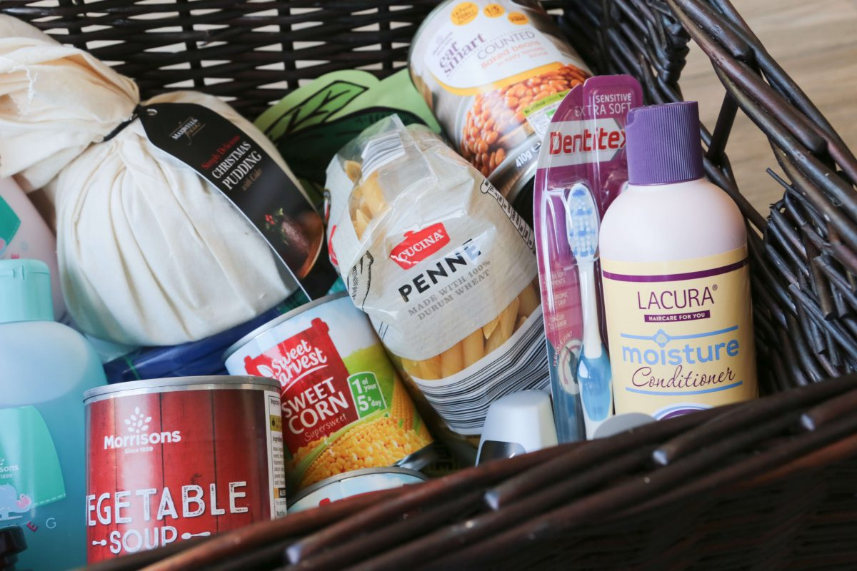 Close-up of our Reverse Advent Calendar filled with food and non-food items for #FoodbankAdvent