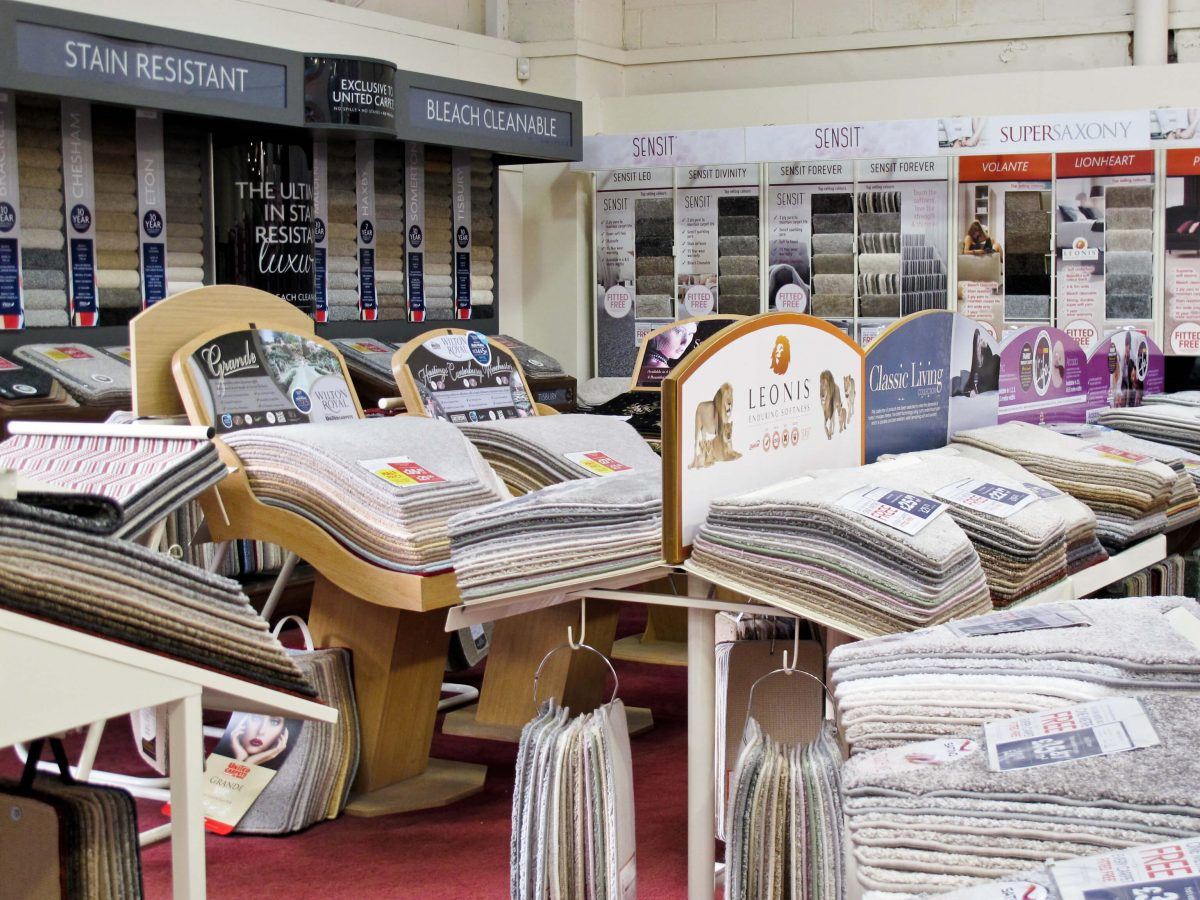 Hundreds of carpets to choose from in the United Carpets and Beds store in nottingham